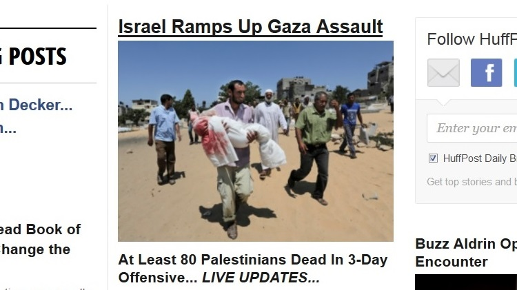 "A headline from the July 10, 2014 front page of the Huffington Post, a notorious inciter of anti-Israel hatred."" width=""500"" height=""298"" /> A headline from the July 10, 2014 front page of the Huffington Post, a notorious inciter of anti-Israel hatred."