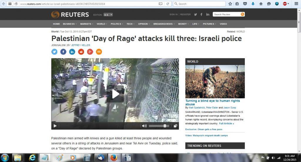 13Oct15 Reuters source story - video of Rabbi murder