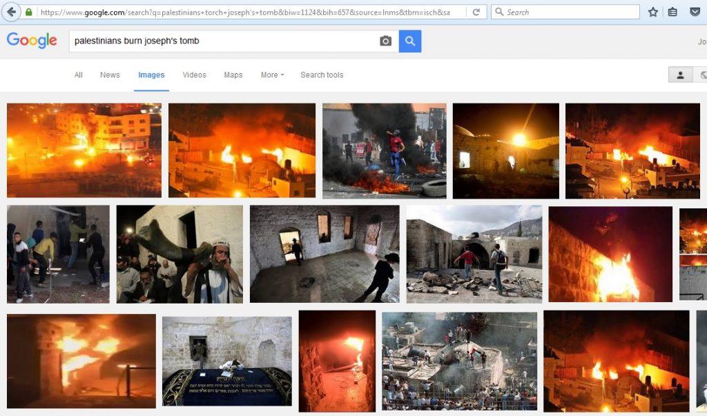 16Oct15 - Josephs Tomb on fire pics