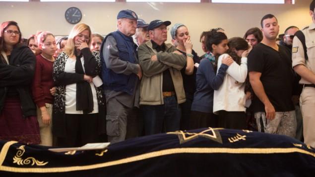 Mourners at Hadar Buchris funeral 3